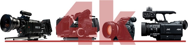 cameras 4k Sony F65, F55, RED Epic, Red Scarlet, Canon C500, Canon 1DC e JVC HMQ10